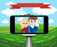 Stick for selfie. Monopod Selfie shots cartoon  illustration.Young couple making self portrait. Royalty Free Stock Image