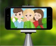 Stick for selfie. Monopod Selfie shots cartoon  illustration.Young couple making self portrait. Royalty Free Stock Photos