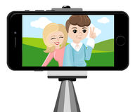 Stick for selfie. Monopod Selfie shots cartoon  illustration.Young couple making self portrait. Royalty Free Stock Images