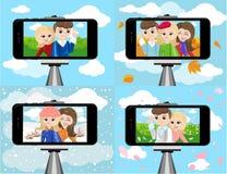 Stick for selfie. Monopod Selfie shots cartoon  illustration.Young couple making self portrait. Stock Image
