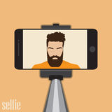 Stick for selfie. Monopod Selfie shots cartoon  illustration.Young couple making self portrait. Man with beard hipster Royalty Free Stock Images