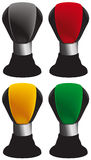 Stick shift. Icons in red, yellow, green and black Stock Image