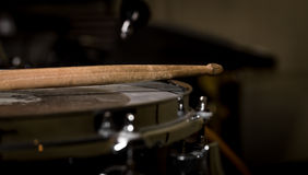 Stick on a snare drum. Musical instrument Royalty Free Stock Images