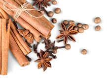 Anice and cinnamon sticks on background. Stick sticks cinnamon anice color group white stock image