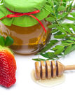 Stick to hohey,strawberries and honey Royalty Free Stock Photography