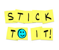 Stick To It - Words on Yellow Sticky Notes stock illustration