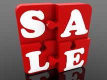 Stick together red puzzle pieces with sale concept. In background royalty free illustration