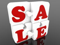 Stick together white puzzle pieces with sale concept. In background royalty free illustration