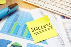 Stick with word success and business charts. Stock Photo