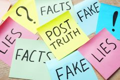 Stick with words Post-truth and lies, fakes and facts. Royalty Free Stock Images
