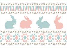Sticka blåa rosa easter för stil kaniner Royaltyfria Bilder