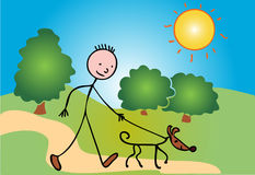 Stickboy and dog. Stickboy is walking his dog through the park Royalty Free Stock Image