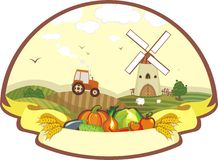 Sticker. Cover with a rural life and vegetables Royalty Free Stock Photo
