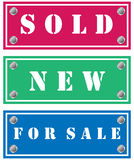 Sticker. Sold, new and for sale stickers for shops Royalty Free Stock Photography