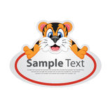 Sticker with animal design - tiger. Full colour vector illustration