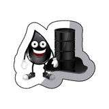Sticker animated drop of petroleum and barrel oil spilled Royalty Free Stock Image