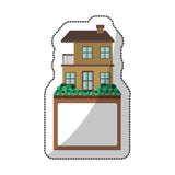 Sticker of apartment with two floors design and label Royalty Free Stock Images