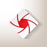 Sticker with an aperture design. With red insertions vector illustration