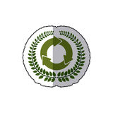 Sticker arch of leaves with circular recycling symbol Stock Photo