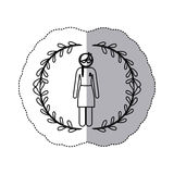 sticker arch of leaves with silhouette woman braided hair with ribbon of breast cancer Stock Photo