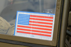 Sticker on Army American car Royalty Free Stock Photos