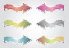 Sticker Arrows. Sticker cartoon arrows illustration, webdesign theme Stock Images