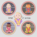 Sticker 'Baby on board'. Sign 'Baby on board' is vector illustration can scaled without losses Royalty Free Stock Image