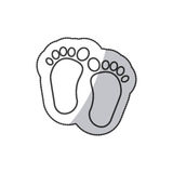Sticker Baby paint footprint standing in silhouette Stock Photos