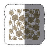 Sticker background in grayscale of creepers with flowers Stock Photography