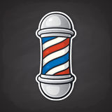Sticker of barber pole. Vector illustration. Barber pole with red and blue spiral. Symbol of retro barbershops. Sticker in cartoon style with contour. Isolated Royalty Free Stock Images