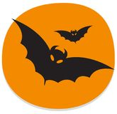 Sticker with bats. Orange and black halloween sticker. Orange halloween sticker with flying bats. Halloween theme clean design Royalty Free Stock Images