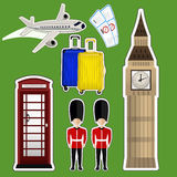 Sticker Big Ben. Vector illustration sticker Big Ben , telephone box , luggage , tickets , plane Stock Photo