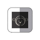 sticker of black background square with face of monkey Stock Photos