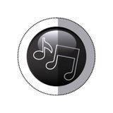 Sticker black circular frame with musical notes Stock Photos