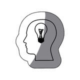 sticker black contour human face with bulb light in mind Stock Photography