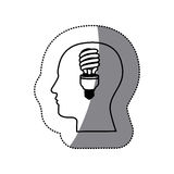 sticker black contour human face with fluorescent bulb in mind Stock Photo