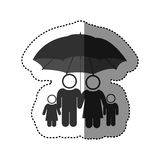 Sticker of black pictogram of umbrella protecting family group. Illustration Stock Images
