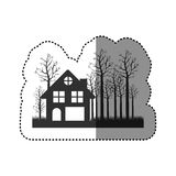 Sticker of black silhouette of cottage in the forest in white background Stock Photography
