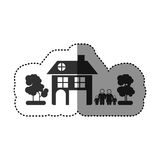 sticker of black silhouette of family away from home in white background Stock Image