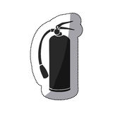 Sticker black silhouette fire extinguisher icon. Illustration Royalty Free Stock Photo