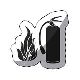 Sticker black silhouette fire flame and extinguisher icon Royalty Free Stock Photography