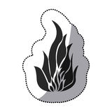 Sticker black silhouette fire flame icon. Illustration Royalty Free Stock Image