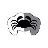 Sticker black silhouette graphic with crab Stock Images