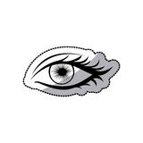 sticker black silhouette woman eye opened Royalty Free Stock Photography
