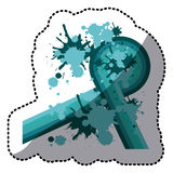 Sticker blue abstract retro curved lines with splash color Stock Photo
