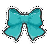 Sticker blue bow ribbon icon decorative Royalty Free Stock Image
