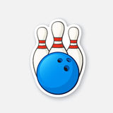 Sticker blue bowling ball and pins vector illustration