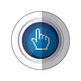 Sticker blue circular button with silhouette pixelated hand pointing up. Illustration Royalty Free Stock Image