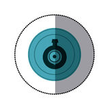 Sticker of blue circular frame with video security camera lens Royalty Free Stock Photo