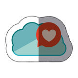 Sticker blue cloud with heart dialogue Royalty Free Stock Image